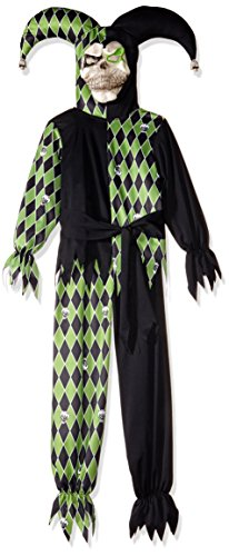 Evil Jester Child Costume Black and Green Scary Halloween Fancy Dress