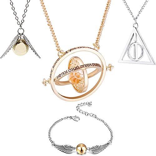Juego de 4 collares para niños, cadena con colgante de giratiempo, Hermione y pulsera de las reliquias doradas de la muerte para niños, niñas, mujeres, hijas