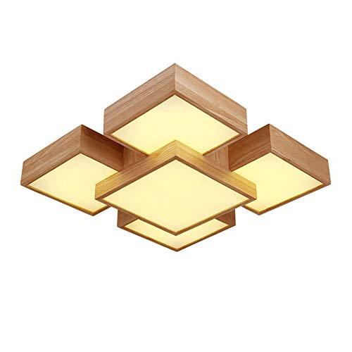 LED Montaje Al Ras Lámpara De Techo Iluminación 48w Regulable Plafón Moderno Madera Iluminación Iluminación Para Salón Dormitorio Comedor Cocina Oficina-Luz cálida 50x50x16cm(20x20x6inch)