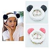 Yean Diademas de maquillaje con orejas de oso elásticas para el pelo para cosméticos, vendas para la cabeza de ducha, color gris (paquete de 2)