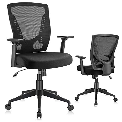 ELABEST - Silla de oficina ergonómica, giratoria, con reposabrazos ajustables, cojín de esponja suave, soporte lumbar, silla de malla con respaldo medio