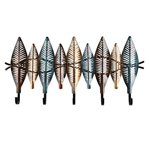 Wandmeubel garderobestandaard rustiek brons tuin bloemenpatroon wandmontage 5 kledinghaken ruimtebesparende kleerhangers sleutelhouder hoedenhouder voor het ophangen van mantels, sjaals, portefeuilles 65cm