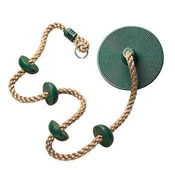 Beste kinderen schommel outdoor klimtouw en disk-type swing knoop touw binnen en buiten spelen saldomacht training (Color : Green)