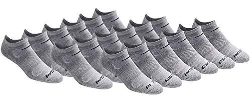 Saucony Men's Multi-Pack Mesh Ventilating Comfort Fit Performance No-Show Socks, Grey Basic (18 Pairs), Shoe Size: 8-12