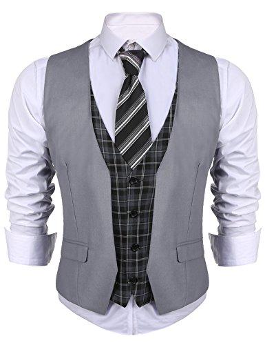 Coofandy - Chaleco para hombre, casual, ajustado, formal, a cuadros, para bodas, negocios, fiestas