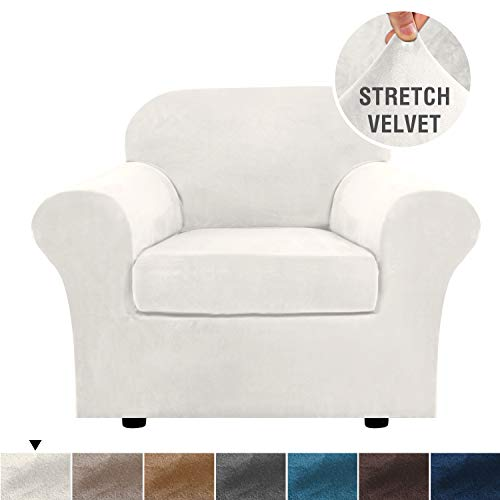 H.VERSAILTEX Rich Velvet Stretch 2 Piece Chair Cover Chair Slipcover Sofa Cover Furniture Protector Couch Soft with Elastic Bottom Chair Couch Cover with Arms, Machine Washable(Chair,Ivory)