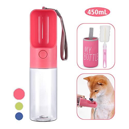 KISSBELLY Hunde Trinkflasche für Unterwegs, 450mL Tragbare Hundetrinkflasche Leckdichte Haustier Wasserflasche, BPA Frei Trinkflasche Hund mit Bürste und Becherdeckel