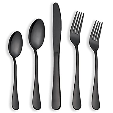 Berglander Flatware Set Black Gold, 20 Piece Black Flatware, 20 Piece Black Titanium Flatware, 20 Piece Black Gold Plated Stainless Steel Silverware Set Cutlery Sets, Service for 4