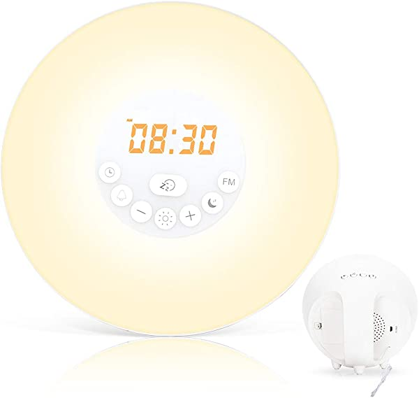 Wake Up Light Nature Light Sunrise Simulation Alarm Clock Touch Control Night Light For Bedrooms Snooze Function Wake Up Light With USB Charger FM Radio For Heavy Sleepers 6640