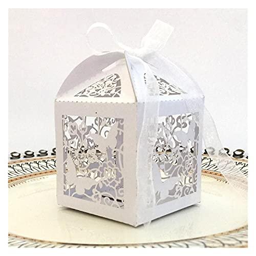 MAUAP 10 unids láser Corte Hueco Mariposa Carro Favorito Regalos Cajas de Caramelo con Cinta Personalizado Baby Shower Bodas Fiesta Favor Decoraciones (Color : White, Gift Box Size : 5x5x8cm)