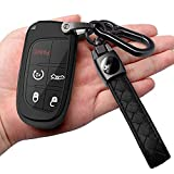 For Jeep Key Fob Cover With Leather Keychain Soft TPU Protection Key Case Compatible With Grand Cherokee Renegade Chrysler 200 300 Dodge Durango Challenger Journey Dart Fiat Smart Key,Black