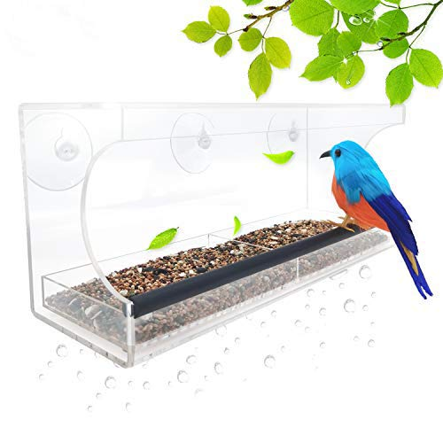Lanscoee鳥用 バードフィーダー 吸盤 鳥用フードフィーダー ペットボトル 野鳥 窓 餌やり 餌入れ 鳥 給餌器 巣箱 餌台 透明 無毒 衛生 小型動物 小鳥 野鳥 鳥かご ケージ 軽量 アクリル製 (30.48*10.16*12.7cm)