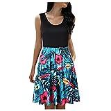 Vestidos Cruzados Mujer Verano 2021,Verano Casual Sin Mangas Cuello Redondo Cortos Vestidos Plisados Playa CamisóN Estampado Floral En V para Cortos Tops Wrap Dresses Elegent