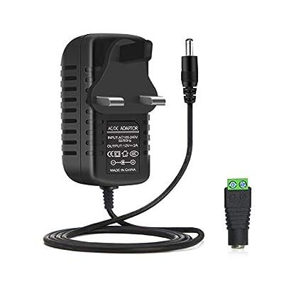 LightingWill 12V 2A 24W LED Power Supply Wall Plug, AC 100-240V to DC 12 Volt Power Transformers Power supply For 12V 2835/5050 LED Strip Light, 24 Watt Max
