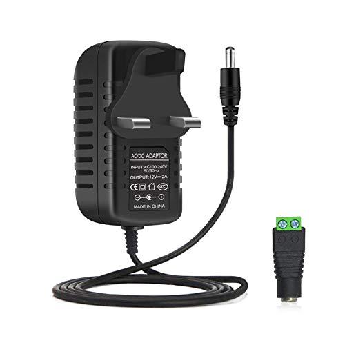 LightingWill LED Power Supply 12V 2A 24W Wall Plug, AC 100-240V to DC 12 Volt Power Transformers Power supply For 12V 2835/5050 LED Strip Light, 24 Watt Max