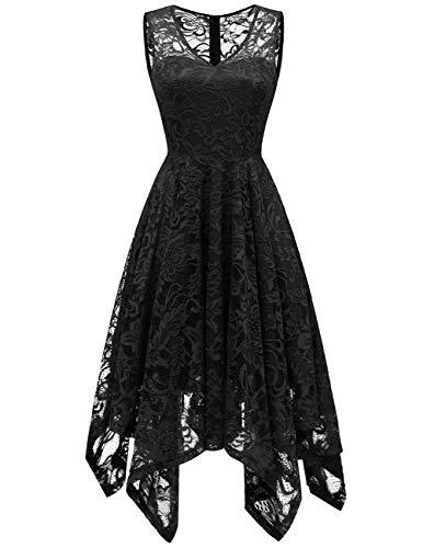Meetjen Damen Elegant Spitzenkleid V-Ausschnitt Unregelmässig Vokuhila Kleid Festlich Cocktail Abendkleid Black S