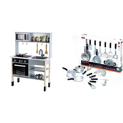 Theo Klein 7199 Miele Küche I Weiße Holzküche inkl. Kochfeld mit Sound- und Licht I Maße: 70 cm x 30 cm x 91 cm & 9428 - WMF Topf- und Küchengeräte Set, 9 Teile, Spielzeug
