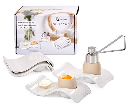 ChasBete Ceramic Egg Holder, Egg Cups for Soft Boiled Eggs, Hard Boiled Egg Cup 4 + 1 Egg Topper...