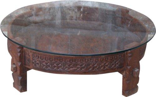 Guru-Shop Ronde Salontafel, Salontafel met Glazen Blad, Bruin, Teakhout, 26x80x80 cm, Salontafels Vloertafels