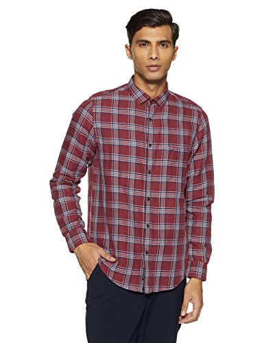 blackberrys Men's Checkered Slim Fit Casual Shirt (ESCC3807R3NA18FL40_Maroon_40)