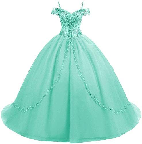 HUINI Ballkleider Lang Vintage Brautkleid Hochzeitskleid Damen Prinzessin A-Linie Abendkleid Quinceanera Kleider Aqua 52