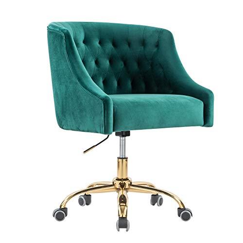 Computerstuhl/Drehstuhl/Vintager Retro Sessel Polstersessel Samt Esszimmerstuhl mit Samtbezug und goldenfarbigen Fußkreuz, drehbar, stufenlos höhenverstellbar, Grün elegant und funktional