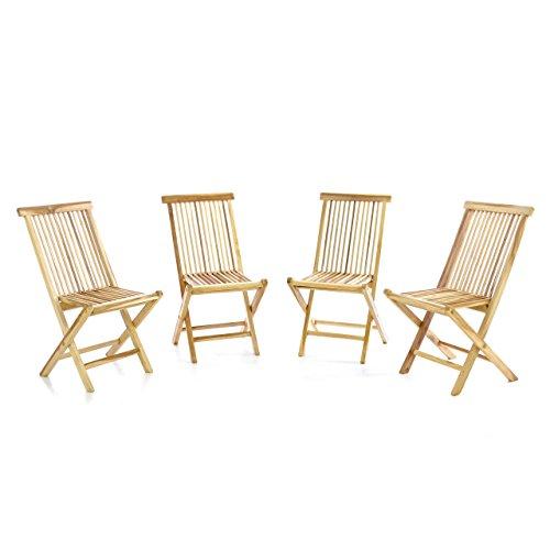 DIVERO 4er-Set Klappstuhl Teakstuhl Gartenstuhl Teak Holz Stuhl für Terrasse Balkon Wintergarten unbehandelt massiv klappbar natur