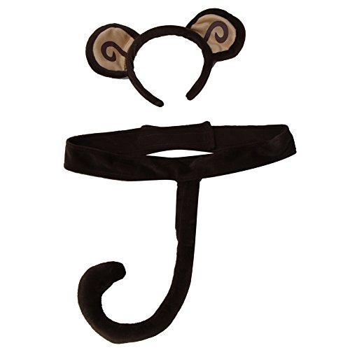 Kids Plush Monkey Business Headband Ears & Tail Jungle Safari Dressup Costume Set