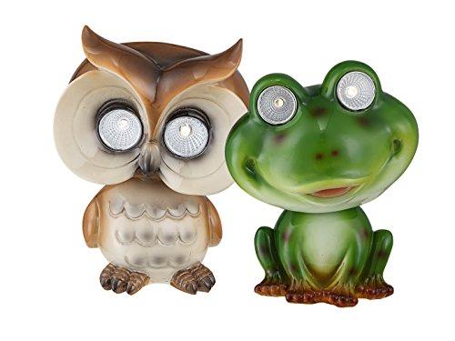 LED DEKO Solarfiguren - Eule und Frosch für den Garten im 2er Set