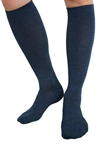 etrado fashion 2 Paar - Reisestrümpfe Kompressionsstrümpfe Stützkniestrümpfe Damen Herren Größe 39-42 - Blau
