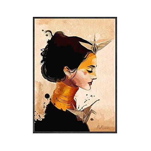 CBYLDDD Female Cara Arte Cartel Surrealista Arte impresión Origami Femenino Acuarela Lienzo Cartel Peculiar impresión Abstracta nórdica Imagen decoración de la casa 16x24in Sin Marco