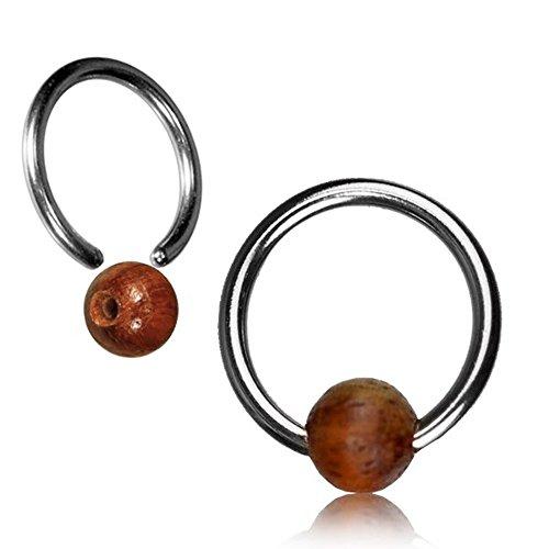 Chic-Net Tamarindenholz Universal Piercing Klemmkugel Ring silbern Septum Helix Tragus