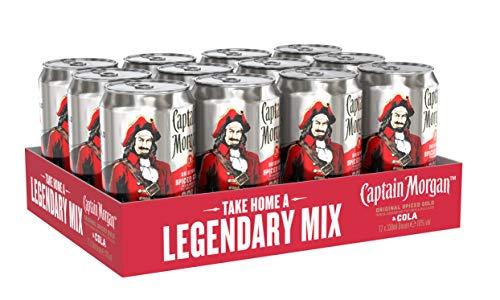 Captain Morgan Original Spiced Gold mit Cola Mix-Getränk, EINWEG (12 x 0.33 l)