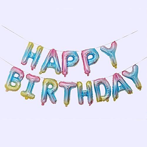 Ponmoo Globos de Happy Birthday Banner - Arco Iris, Cumpleaños Globos para La Decoración Aniversario Fiesta, Globo de Feliz Cumpleaños Suministros Decoración Globo Party