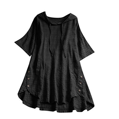QIMANZI Übergröße Damen Lange Ärmel Kaftan Ausgebeult Taste Bettwäsche aus BaumwolleTunika Bluse(Schwarz,3XL)