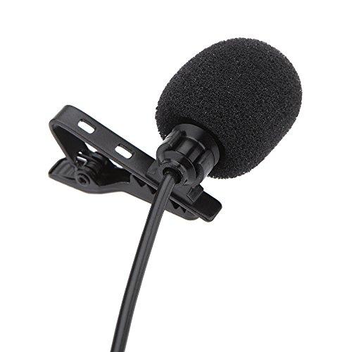 Andoer Lavalier Clip Metall Mono Mikrofon 3,5 mm mit Kragen Clip für Lound Lautsprecher, Computer, PC, Laptop
