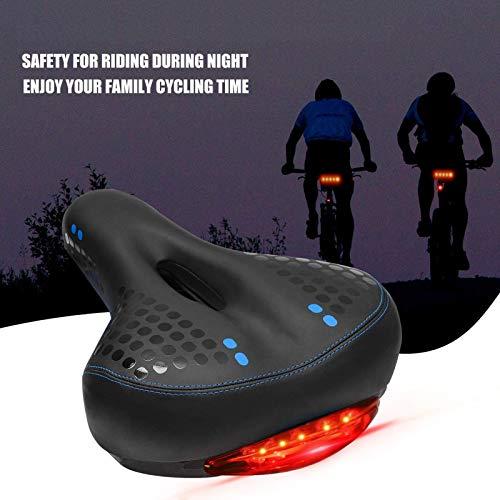 Duvets Sillín de Bicicleta, con LED luz Trasera Impermeable y Transpirable Antiprostático Asiento de Bici, Sillín Bicicleta de Cuero Antideslizante, para Carretera, MTB, Montaña, Urbana