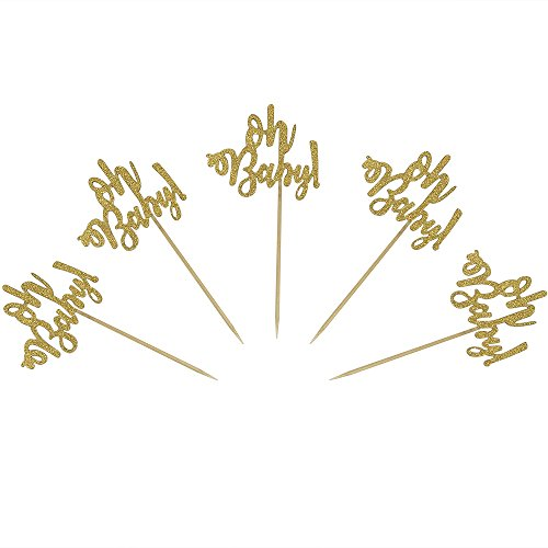 Set of 24 Gold Glitter Oh Baby Cake Cupcake Toppers Picks for Wedding Birthday Baby Shower Party Decorations