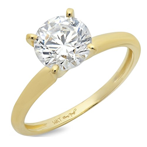1.50CT Round Cut Simulated Diamond CZ 4-prong Solitaire Engagement Wedding Ring 14k Yellow Gold, Size 5.5