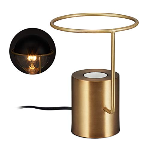 Relaxdays tafellamp metaal, modern industrieel design, rond, E27 bedlamp, H: 19 cm, decoratieve gloeilamp, goud, kunststof