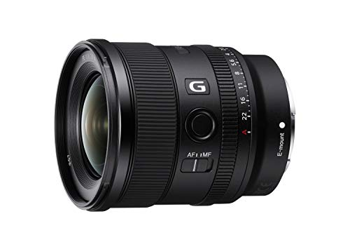 Sony SEL20F18G - Objetivo Gran Angular (G Lens, 20 mm F1.8, Full Frame, para Video y Paisaje, Montura E, Dos Elementos AA - Advanced Aspherical y 3 Elementos Ed - Extra Low Dispersion), Negro