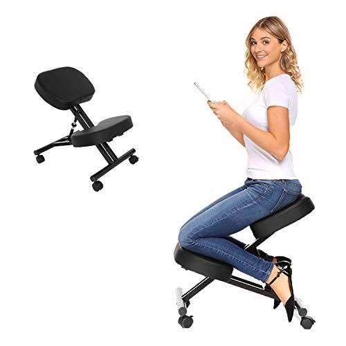 Oliote, sedia ergonomica inginocchiata, sedia correttiva postura, sedia angolata inginocchiata, sgabello regolabile con cuscino in schiuma modellata e rotella per casa e ufficio