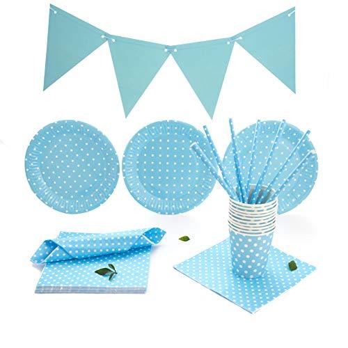 Set de Vajilla Desechable Para Fiestas de Cumpleaños, Babyshower, Party para 30 Personas. Incluye Guirnalda, servilletas, vasos, platos y pajitas. Liso con lunares. (Azul)