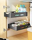 YunNasi 1 organizador de armario de cocina extraíble en acero inoxidable para debajo del fregadero, organizador de armario para cajones y cajones deslizantes para cocina (negro, L: 35 x 20 x 7 cm)