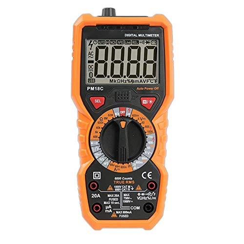 FYYONG Multímetro digital de verdadero valor eficaz con AC/DC Tensión Resistencia capacitancia de frecuencia y velocidad de conducción nerviosa probador de la temperatura