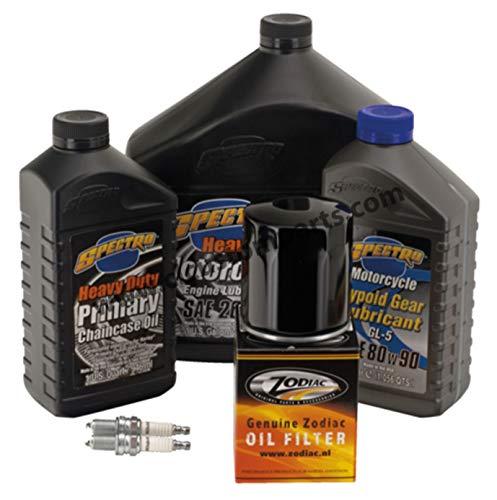 Kit de revisión Espectro de aceite de motor 20 W-50 + Primaria + Cambio + Filtro de aceite negro + bujías para Harley Sportster desde 1984 hasta hoy
