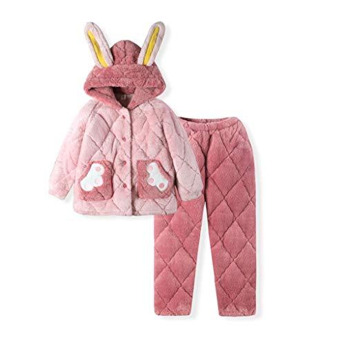 YWSZJ Franela de Invierno Niños Pijamas Sets Niño Ropa de Dormir Caliente Dibujos Animados Imprimir Baby Girls Boys Nightwear Children Pijamas Coral Velvet Conjuntos (Color : Pink, Size : 155cm)