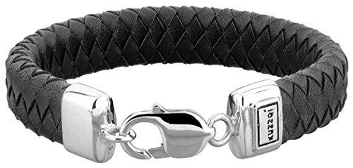 KUZZOI Herren Lederarmband / Herrenarmband schwarz mit Verschluss aus 925 Sterling Silber, Länge 21 cm, 235038-021