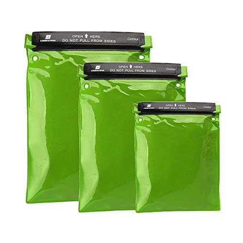 Sxgyubt - Juego de 3 bolsas impermeables para guardar documentos y documentos para cámara o teléfono móvil, mapas para kayak, pesca, color verde, fruta y verde, juego de tres piezas