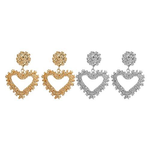 Happyyami 2 pares de brincos geométricos de liga metálica em relevo para mulheres (dourado e prata)